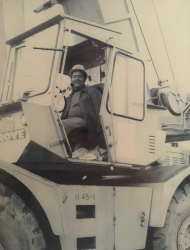 Old Picture of Man Inside a Crane